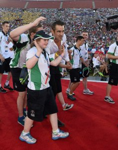Colin Farrell with Team Ireland athletes during the opening ceremony of the Special Olympics World Summer Games. LA Memorial Coliseum, Los Angeles, United States. Picture credit: Ray McManus / SPORTSFILE