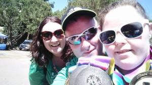 Me and fellow Team Ireland media volunteer, Brian McGuigan from Dungiven with Belfast Team Ireland gymnast, Kirsty Devlin and her two Gold and Silver medals won at LA2015.