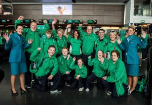 21 July 2015; Back L-R: Ulster Team Ireland athletes, Sean Campbell from Coleraine (10-pin bowling); Jill Connery from Scarva, Co. Armagh & Ursula McDonnell from Belfast (golf); coach, Roisin Henry; Ulster athletes, Oliver Doherty from Buncrana, Co. Donegal (golf); Patrick Quinlivan from Letterkenny, Co. Donegal (gymnastics) & families coordinator, Angela McGee. Front L-R: Ulster Team Ireland athletes, Christopher Kane from Lisburn, Co. Down (football); Peter Fitzpatrick from Ballynahinch, Co. Down (football); Déarbhail Savage from Mowhan, Co. Armagh (equestrian); Nuala Brown from Strabane, Co. Tyrone (kayaking); Carol Catling from Newtownabbey, Co. Antrim (table tennis) with Aer Lingus crew ahead of departing for the Special Olympics World Summer Games in Los Angeles, United States. Terminal 2, Dublin Airport, Dublin. Picture credit: Ray McManus / SPORTSFILE